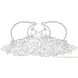 Two babyy hedgehogs Free Coloring Page for Kids