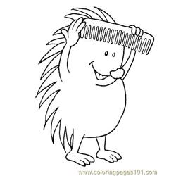 Hedgehog with comb Free Coloring Page for Kids