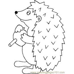 Hedgehog with candy Free Coloring Page for Kids