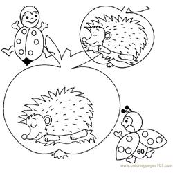 Hedgehogs sleeping Free Coloring Page for Kids