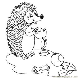 Hedgehogs eating apples Free Coloring Page for Kids