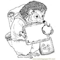 Hedgehog watch apple coloring page