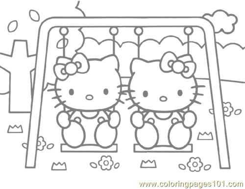 Hello Kitty on a swing Coloring Page