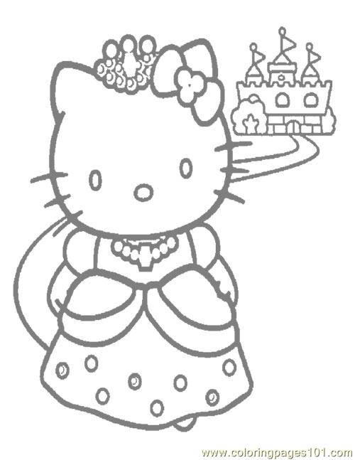 Hello Kitty Princess Coloring Page Free Hello Kitty