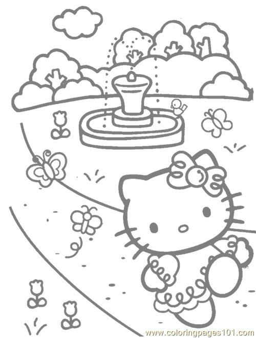 Hello Kitty walking Coloring Page