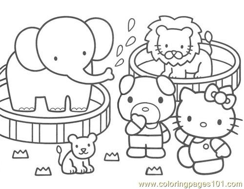 Hello Kitty zoo Coloring Page