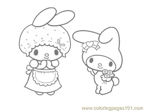 Hello Kitty And My Melody Coloring Pages : My melody coloring page free hello kitty pages