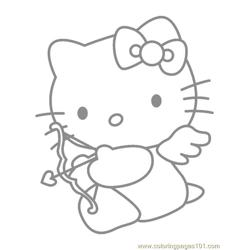 Hello Kitty Cupid Free Coloring Page for Kids