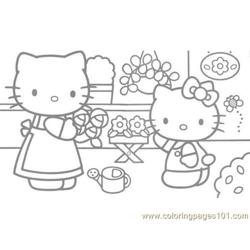 Hello Kitty at home Free Coloring Page for Kids