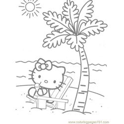 Hello Kitty at the beach Free Coloring Page for Kids