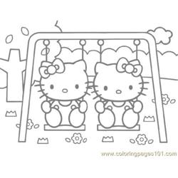 Hello Kitty on a swing Free Coloring Page for Kids