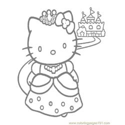 Hello Kitty princess Free Coloring Page for Kids