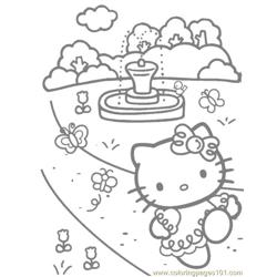 Hello Kitty walking Free Coloring Page for Kids