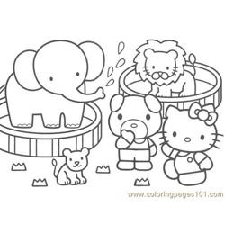 Hello Kitty zoo Free Coloring Page for Kids