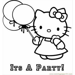 Hello Kitty Balloon Free Coloring Page for Kids