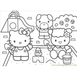 Kitty6 Free Coloring Page for Kids