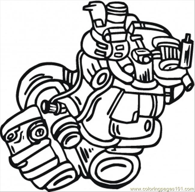 Engine Of The Sport Car Coloring Page