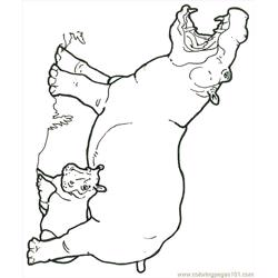 Mural Hhl Hippo With Baby Free Coloring Page for Kids
