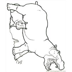 Mural Hhl Hippo With Baby Reversed Free Coloring Page for Kids