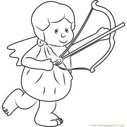 Cute Angel Free Coloring Page for Kids