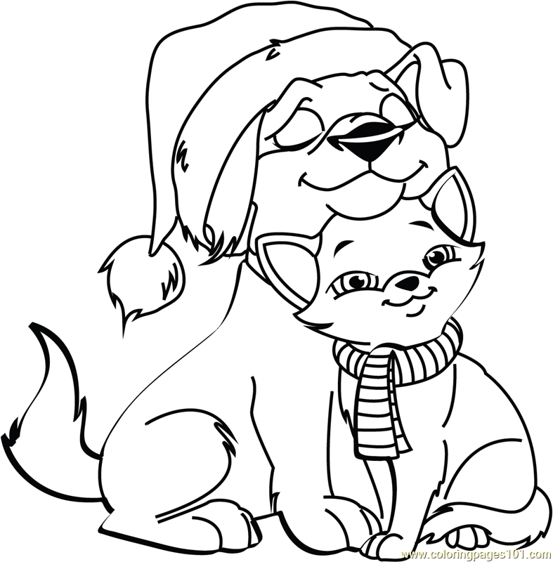 Christmas cat and dog coloring page
