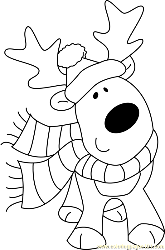 Christmas Cute Deer Coloring Page