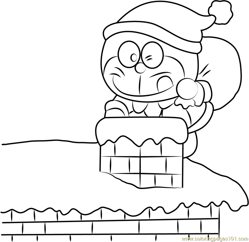 Christmas Doraemon Coloring Page