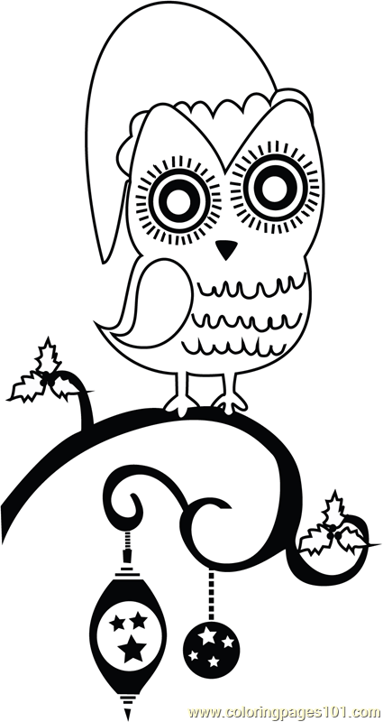 Christmas Owl Coloring Page