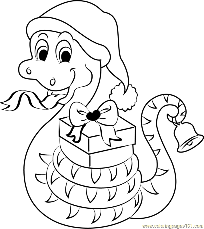 Christmas Snake with Gifts Coloring Page