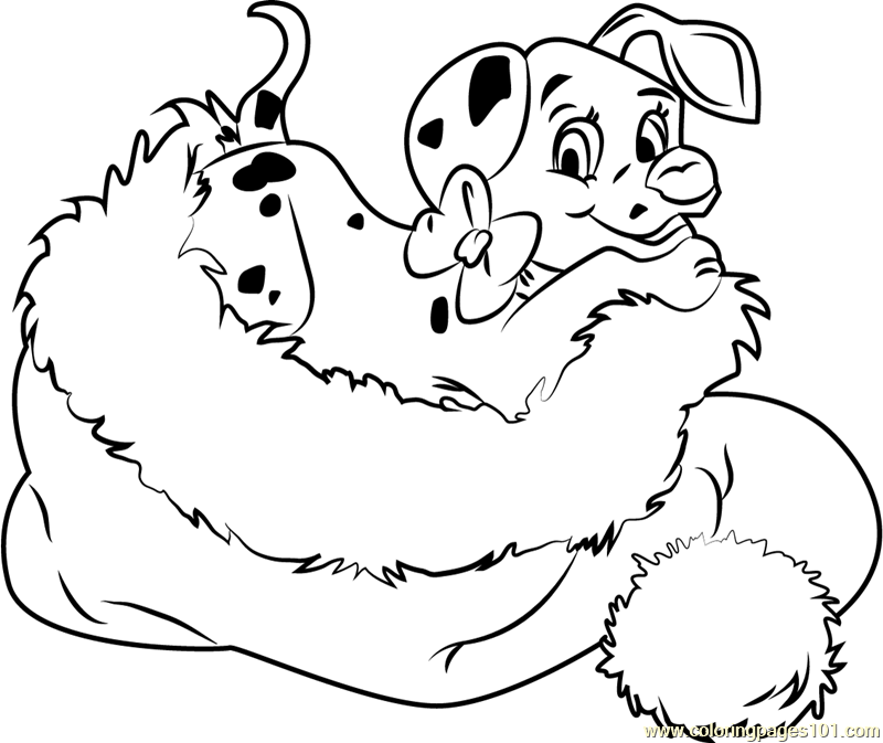 Dalmation in Santa Hat Coloring Page - Free Christmas ...