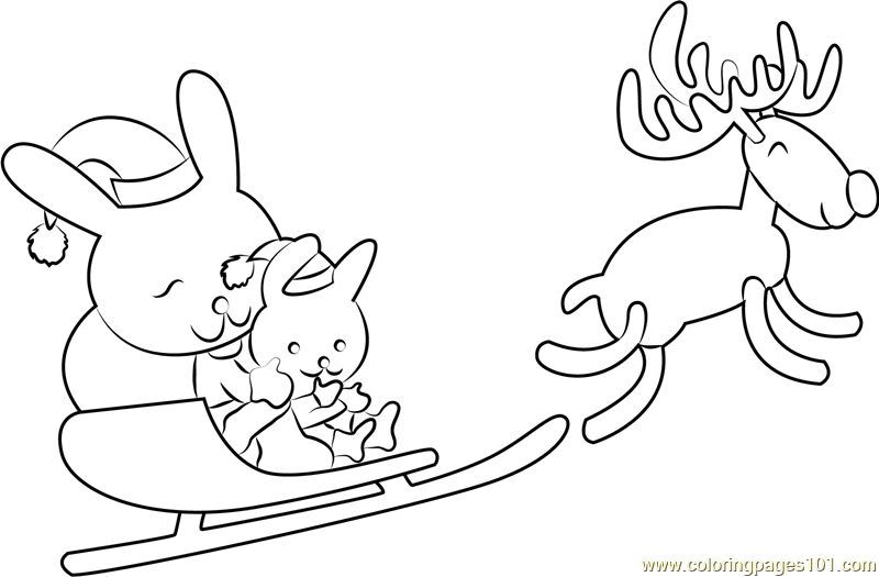 Reindeer Christmas Coloring Page - Free Christmas Animals Coloring ...
