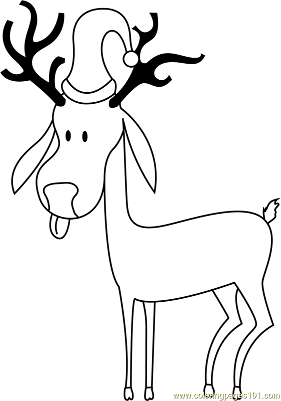 Simple Reindeer Coloring Page - Free Christmas Animals ...