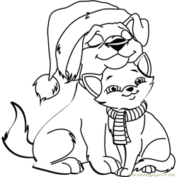 Christmas Cat and Dog Free Coloring Page for Kids
