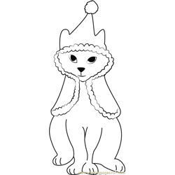 Christmas Cat Free Coloring Page for Kids