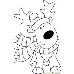 Christmas Cute Deer Free Coloring Page for Kids
