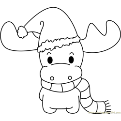 Christmas Deer Free Coloring Page for Kids