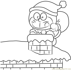 Christmas Doraemon Free Coloring Page for Kids