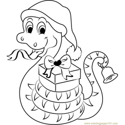 Christmas Snake with Gifts Free Coloring Page for Kids