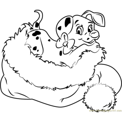 Dalmation in Santa Hat Free Coloring Page for Kids