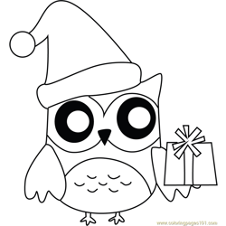 Owl with Presents Free Coloring Page for Kids