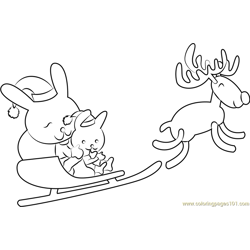 Reindeer Christmas Free Coloring Page for Kids