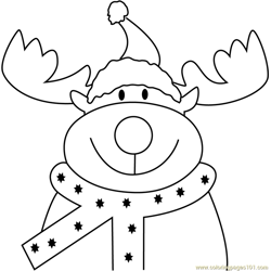 Reindeer Face Free Coloring Page for Kids
