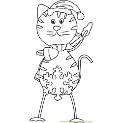 Santa Cat Free Coloring Page for Kids