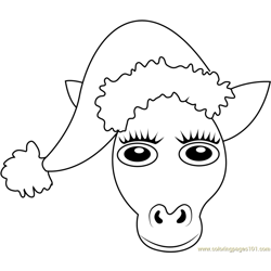 Santa Pony Free Coloring Page for Kids