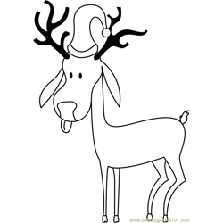 Simple Reindeer Free Coloring Page for Kids