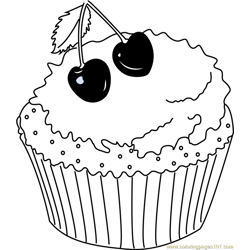 XMas Cherry Cake Free Coloring Page for Kids
