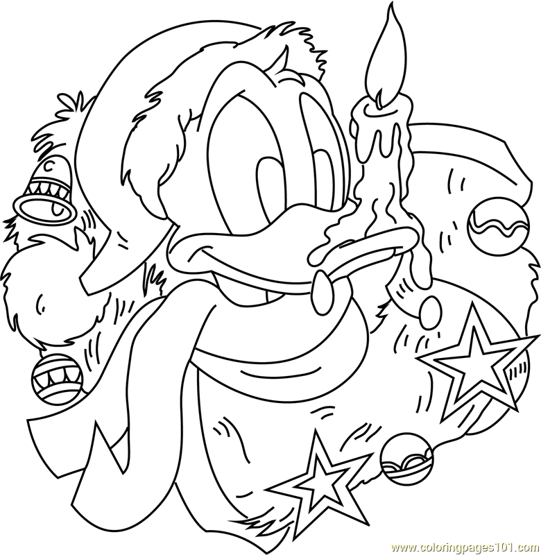 Donald Duck with Xmas Gifts Coloring