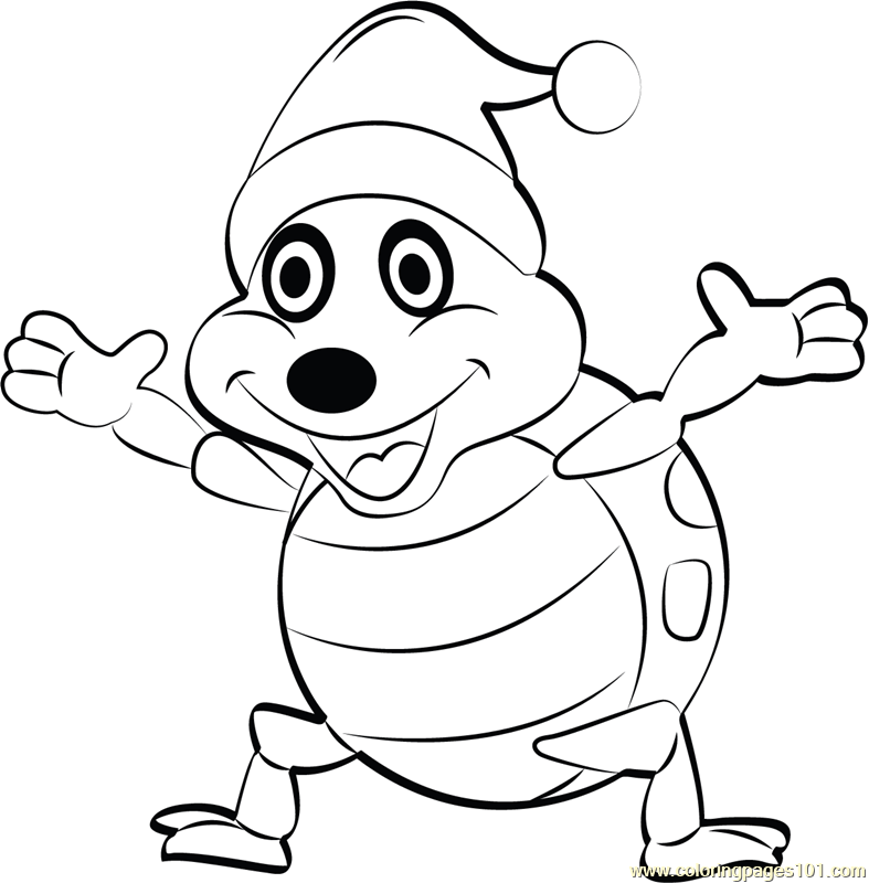 Happy Christmas Turtle Coloring Page