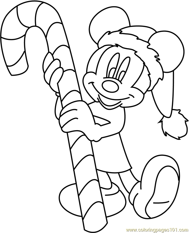 Mickey Mouse Merry Christmas with Candy Coloring Page