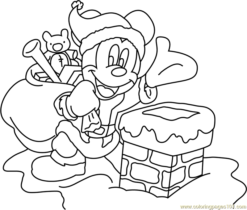 Mickey Mouse on Christmas Coloring Page